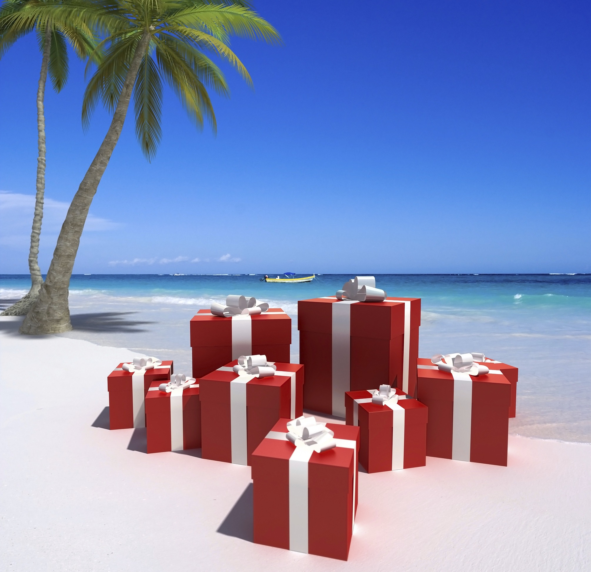 Red gifts on a beach1