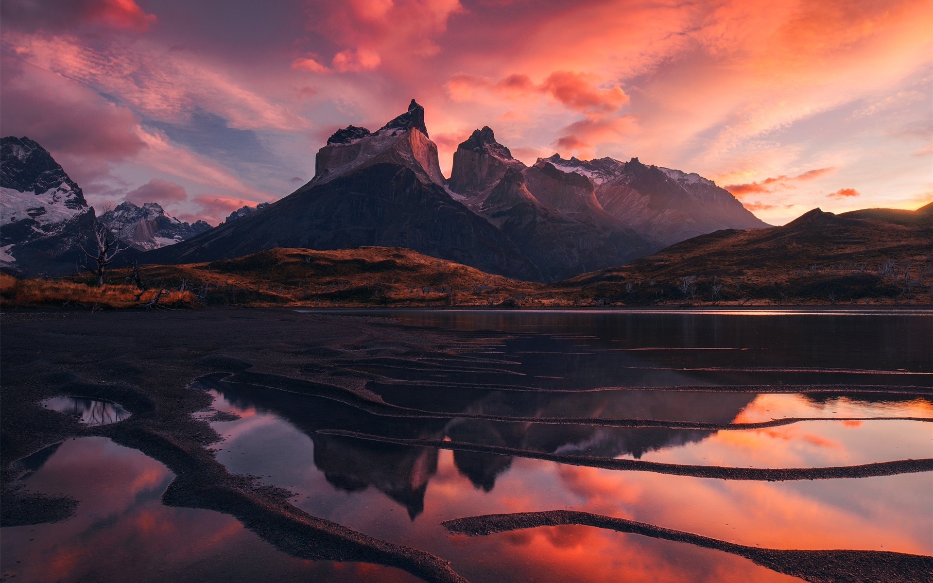 patagonia beautiful landscape mountains lake red sky clouds sunset 1080P wallpaper