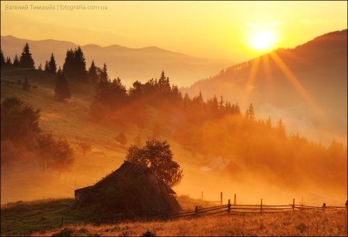 Рассвет в Карпатах, Дземброня. Фото: Евгений Тимашев.